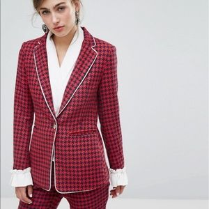 Sister Jane Houndstooth Blazer with Frills Red S